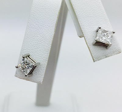 Radiant Cut .71ct/.72ct Diamond 14K Gold Stud Earrings