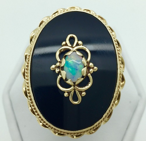 Onyx and Opal 14K Yellow Gold Ring