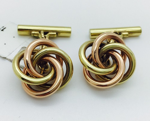Love Knot Yellow and Rose 14K Gold Cuff Links