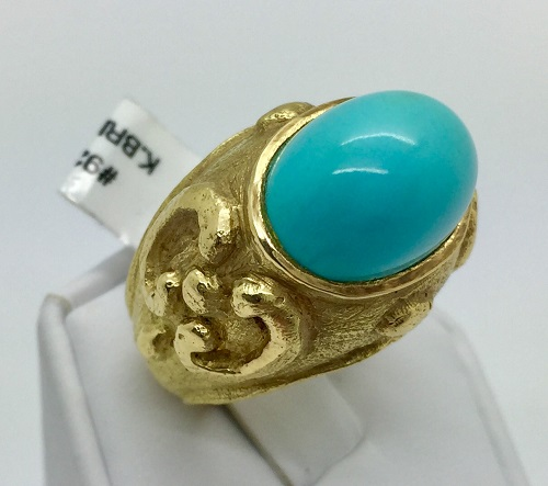 Katy Briscoe Persian Turquoise 18K Yellow Gold Ring