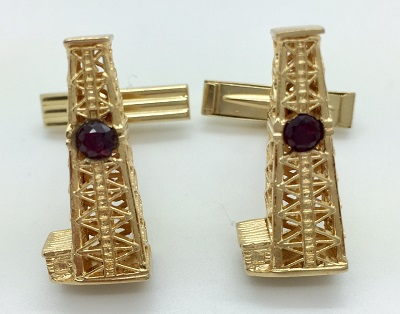 Oil Derrick 14K Gold Cuff Links