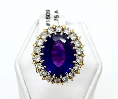 Amethyst and Diamond 18K Gold Ring