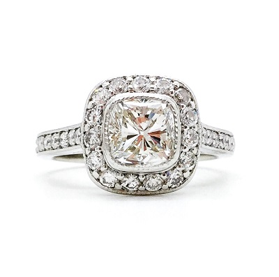Cushion Cut Diamond Platinum Ring