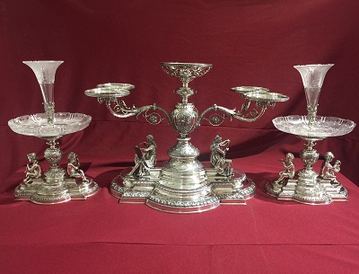Sterling Silver Epergne with Matching Flower Vases
