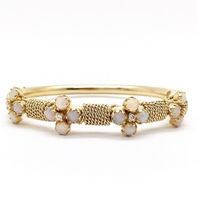 Opal Diamond 14K Gold Bangle Bracelet