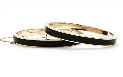 Victorian Black Enamel 14K Gold Wedding Bracelets, PAIR