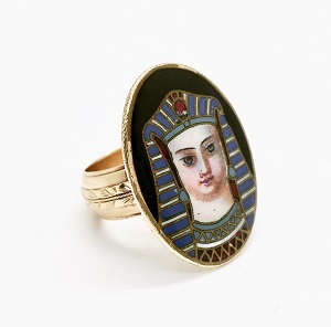 Enameled Pharaoh 14K Gold Ring