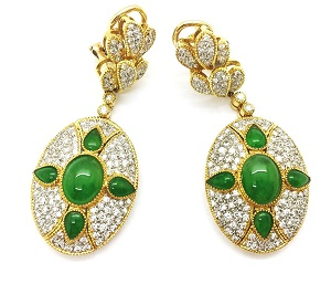 Jadeite Diamonds 18K Gold Earrings