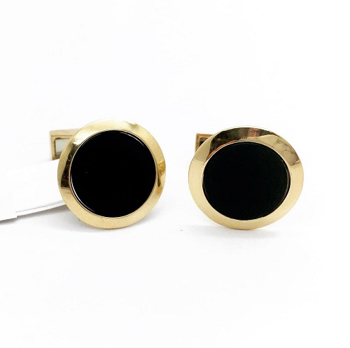 Black Onyx 18K Gold Cuff Links
