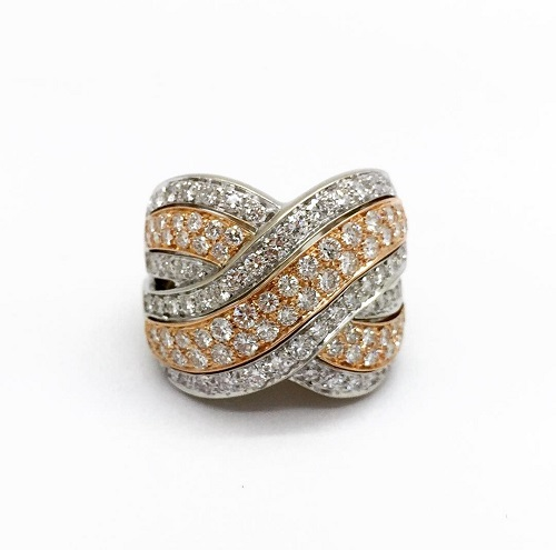 White and Rose 18k Pave Diamond Crossover Ring