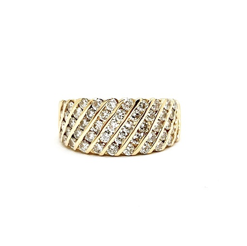 Diamond Diagonal Stripe 14K Ring