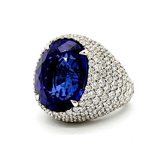 Tanzanite Pave Diamond 18K Dome Ring