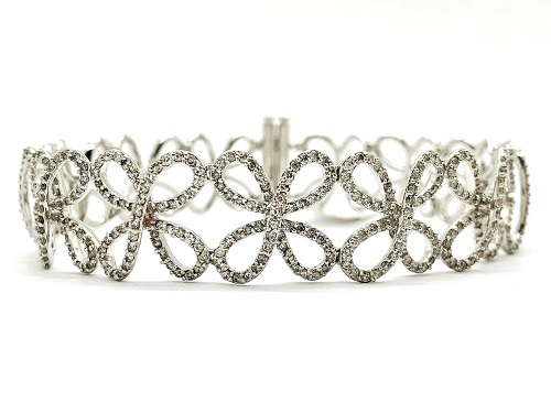 Flower Ribbon Diamond Cuff 14k Bracelet