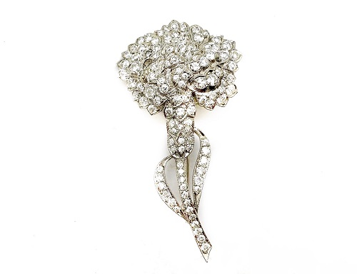 Flower Diamond Platinum Pin