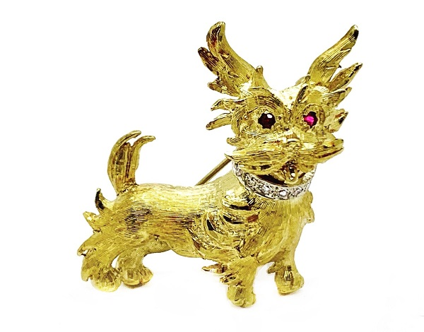 Dog Ruby 18K Pin