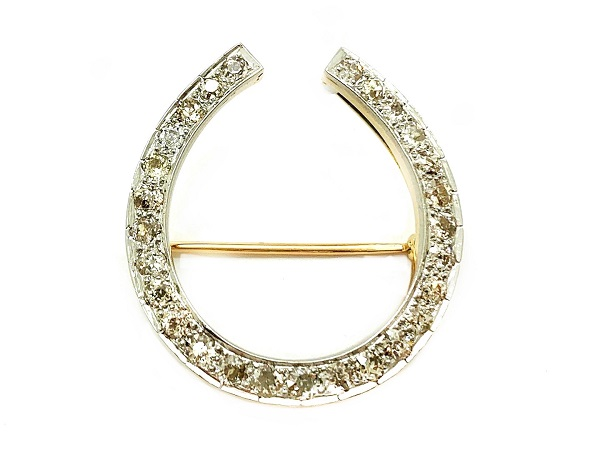 Horseshoe Diamond 14K Pin