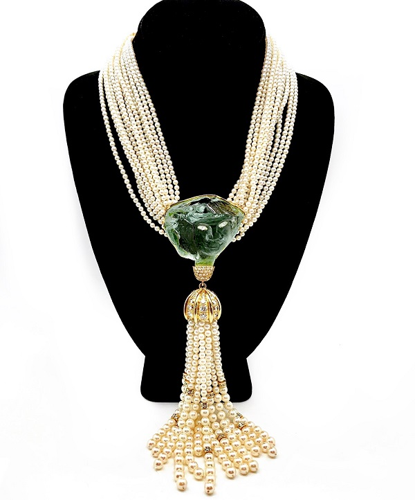 Suzanne Pascal Crystal and Diamond Pearl Tassel 18K Necklace