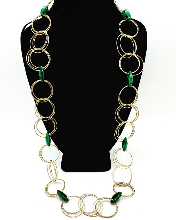 Buccellati Malechite 18K Entwined Rings Necklace