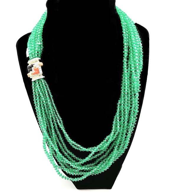 Emerald Beads with Deco Clasp 18K Necklace