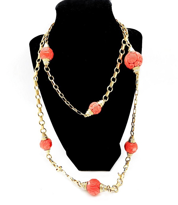 Carved Coral Beaded 18K Necklace
