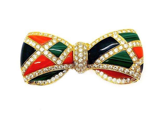Bow Pin Diamonds Coral Lapis Malachite 18K