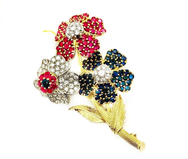 Kutchinsky Diamond Sapphire and Ruby 18K Brooch