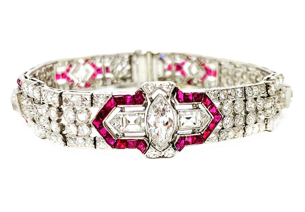 Deco Ruby and Diamond Platinum Bracelet