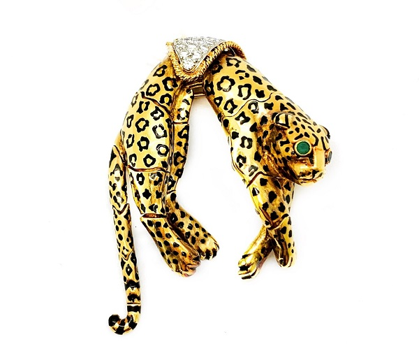 David Webb 18K Jaguar Brooch