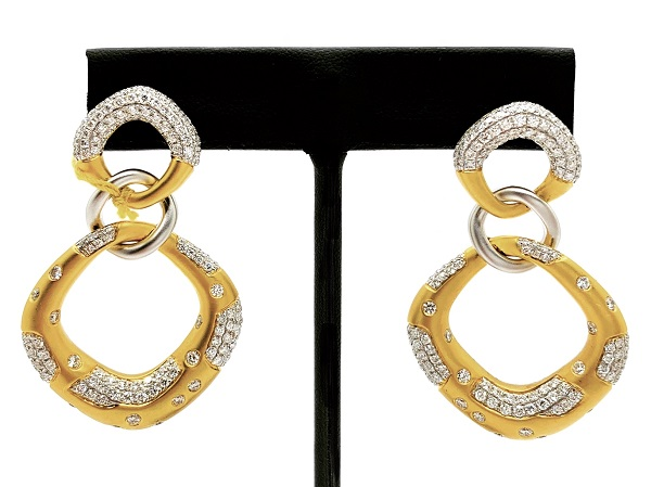 Door Knocker Pave Diamond 18K Earrings