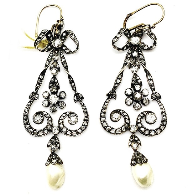 Antique Chandelier Diamond Earrings