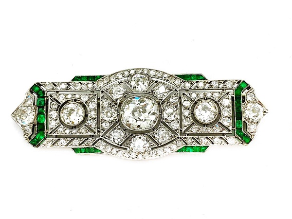 Emerald Diamond Platinum Deco Brooch