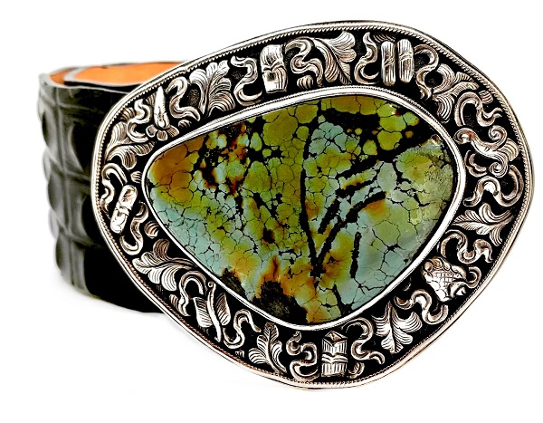 Veari Sterling and Turquoise Buckle Belt