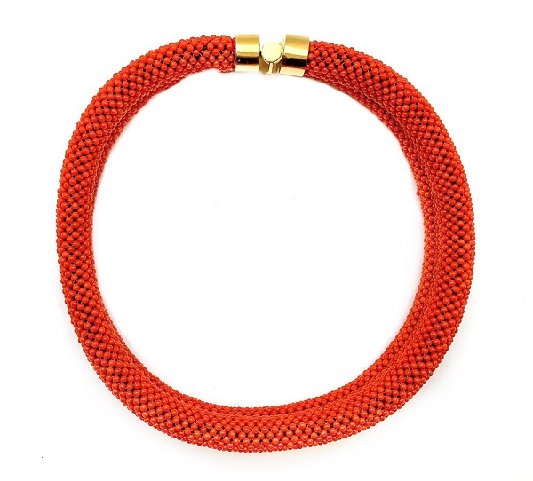Coral Beaded Double Row Choker 18K Clasp