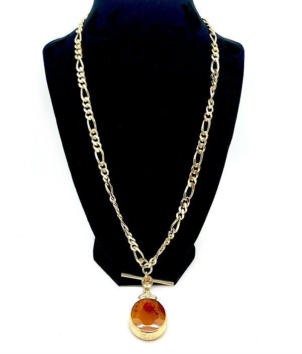 Double-Sided Amber & Mother of Pearl Irish 9K Drop Necklace