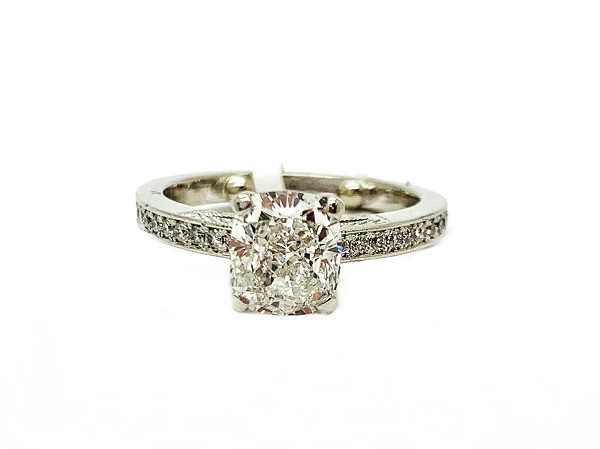 Cushion Modified Brilliant Cut 1.50ct Diamond Platinum Ring