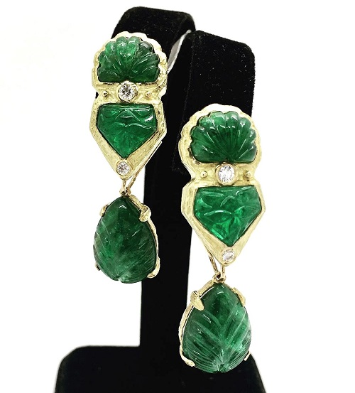Kate Briscoe Carved Emerald 18K Earrings