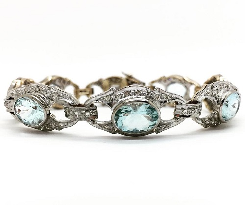 Aquamarine and Diamond 18K Yellow and White Gold Bracelet