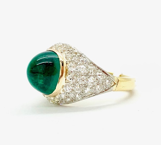 Emerald Cabochon 18K/Platinum Ring