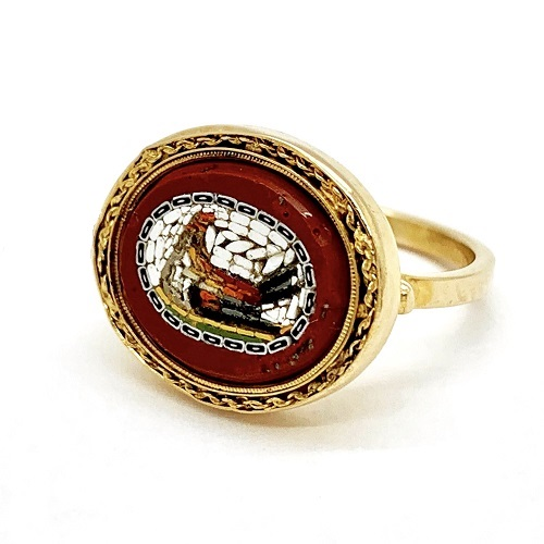 Mosaic Rooster 18K Gold Ring