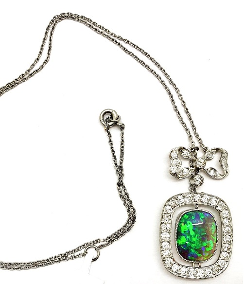 Black Opal Diamond Platinum Pendant